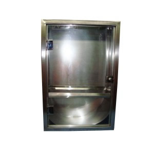 Abrigo para Mangueira Aço Inox - C/ 1 Porta de Vidro 8mm - 90 x 60 x 17 cm - Embutir