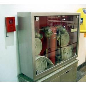 Abrigo para Mangueira Aço Inox - C/ 2 Portas de Vidro ou Visor em Acrílico - 120 x 90 x 30 cm - Embutir/Sobrepor