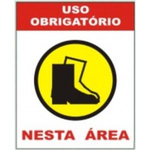 Placa Uso Obrigatório de Botas de Segurança